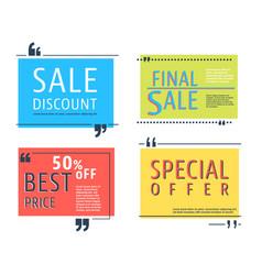Colored sale square template vector