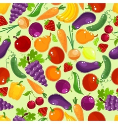 Colorful fruit and vegetables seamless pattern vector