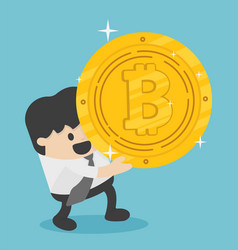 concept businessman carrying huge bitcoins vector image