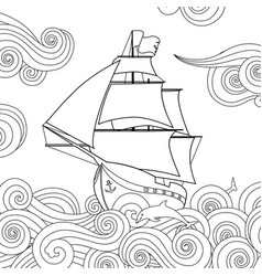 Contour image of sailing ship on the wave in vector