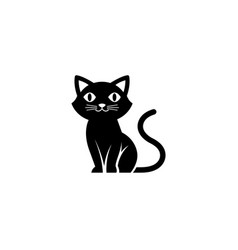 creative black cute cat logo vector image