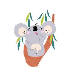cute funny koala sitting on eucalyptus tree vector image