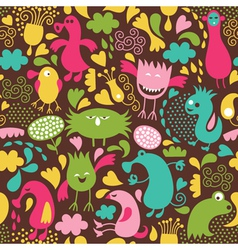 Cute monster background vector image