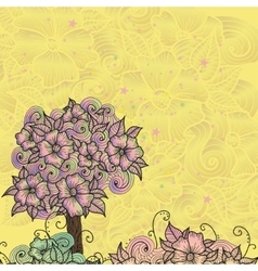 Design card with doodle flowers vector image