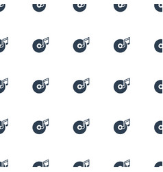 disc and music note icon pattern seamless white vector image