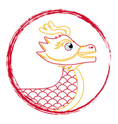 drawing red chinese dragon symbol vector image