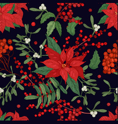 Elegant seamless pattern with parts of winter vector