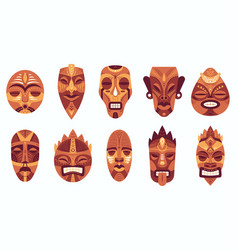 Ethnic masks traditional ritual ceremonial vector