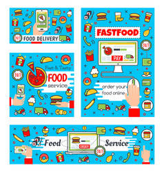 Fast food delivery and online order vector