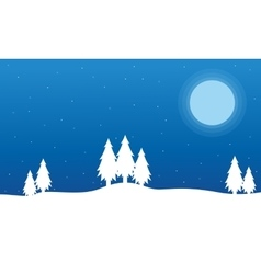 Field full snow Christmas landscape vector image