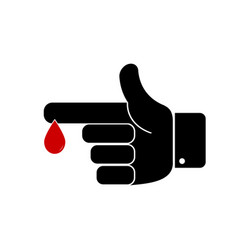 finger with blood drop vector image