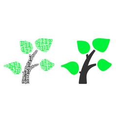Flora plant mosaic of binary digits vector
