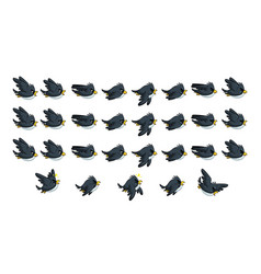 flying black bird game sprites vector image