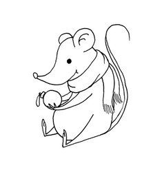 Funny christmas mouse outline hand drawn vector