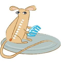 funny mouse with a comb vector image