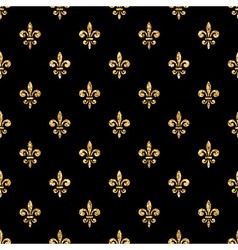 Golden fleur-de-lis seamless pattern black 4 vector