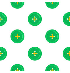 Green sewing button pattern flat vector