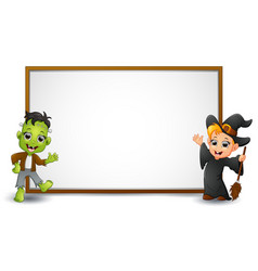 Halloween sign with witch and frankenstein vector
