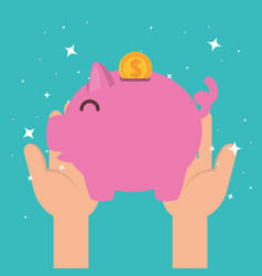 hands with piggy money charity donation vector image