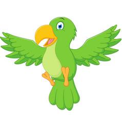 Happy parrot cartoon flying vector
