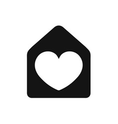 Heart sign in house black color simple icon love vector