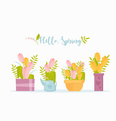 Hello spring flat greeting card template vector