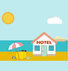 Hotel on the beach with baggage and umbrella vector