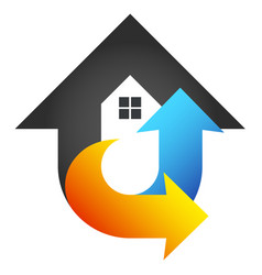 House air conditioner red and blue arrows vector