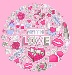 icon sticker set with love vector image