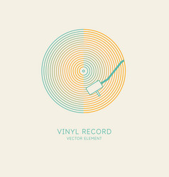 image a vinyl record in a linear style vector image