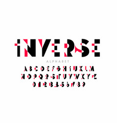 Inverse style modern font alphabet letters vector