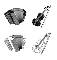 Isolated object of music and tune sign collection vector