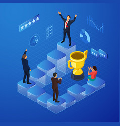 Isometric business team success concept vector