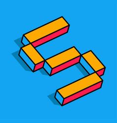 isometric s letter s 3d logo vector image