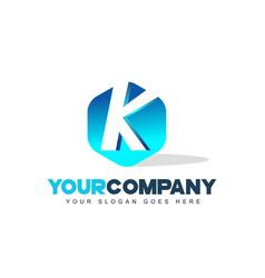 k letter logo hexagon shape modern design vector image