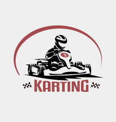 Karting race symbol logo or emblem template vector