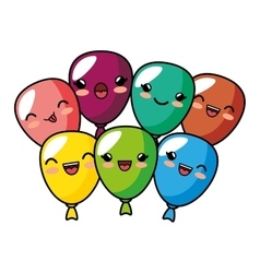 kawaii cute balloons party decoration design vector image