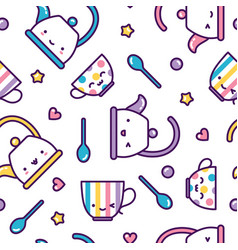 kawaii tea cups and kettles seamless pattern cute vector image