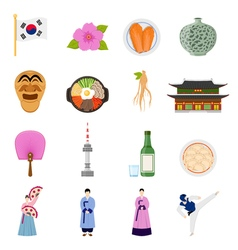 Korean Culture Symbols Flat Icons Collection vector