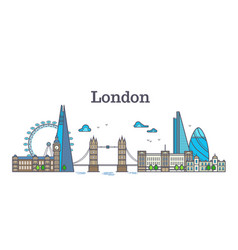 London city view urban skyline with buildings vector