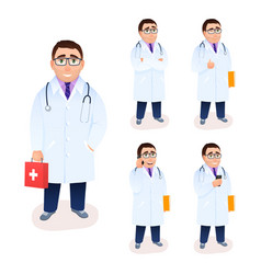 male flat doctor character set isolated on white vector image