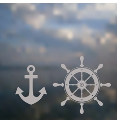 nautical wheel and anchor in soft background vector image