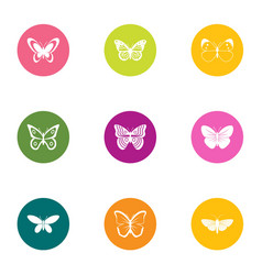 night butterfly icons set flat style vector image