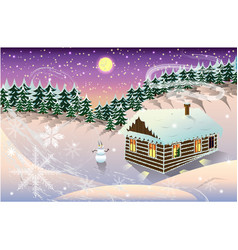 night winter landscape with house and forest vector image