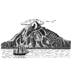 ocean or sea with ship sails next to volcano or vector image