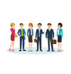 Office workers in beautiful business clothes vector