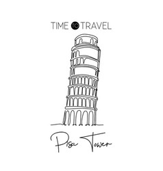 one continuous line drawing pisa tower vector image
