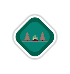 Paper sticker on white background park vector