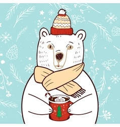 Polar Bear in red hat vector image