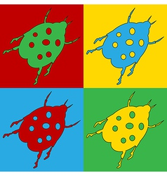 Pop art bug icons vector image
